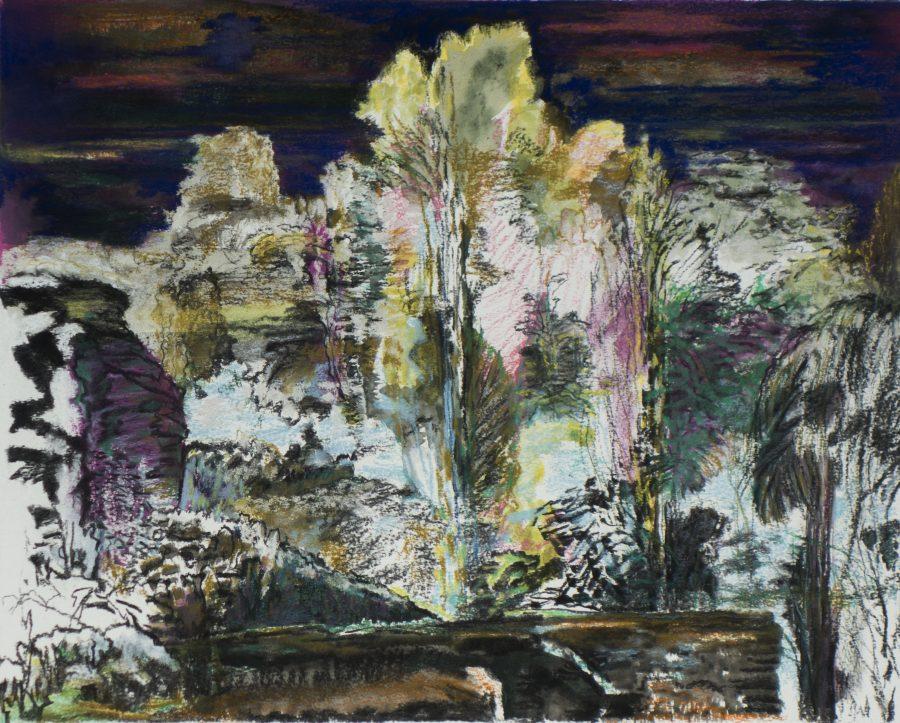 Betoverd licht 2017 houtskool, pastel, gouache, papier 40 x 50 cm